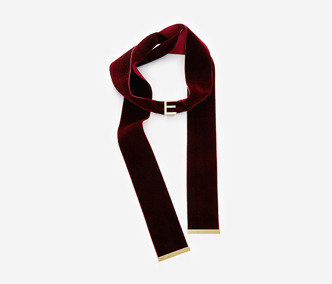 Initial Velvet Muffler Necklace - Wine