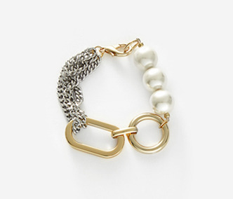 Big Shape Bold Chain and Pearl Bracelet 30% SALE