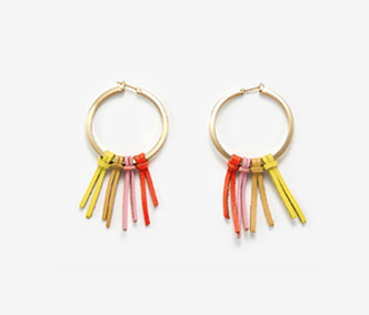Color Leather Tassel Earrings