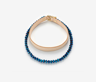 [Monday Edition] Blue Beads and Leather Choker Set (40%off)
