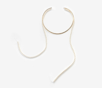 Long Pearl Wire Necklace