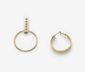 Bar And Circle Unbalance Earrings 2