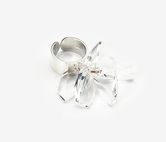 Crystal Flower Silver Ring