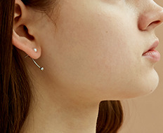curve drop ball earrings - pearl