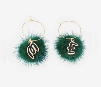 [ME x Chocomoo] Witty initial & pompom earrings