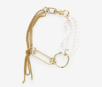 Big Shape Rope Chain and Pearl Necklace