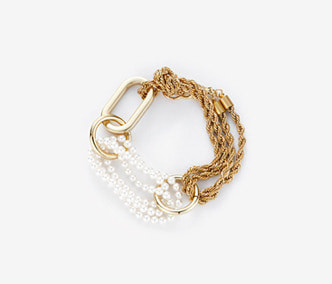Big Shape Rope Chain and pearl Bracelet
