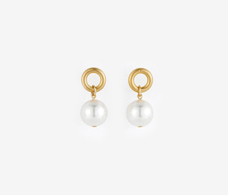 [Monday Edition] Small Circle and Pearl Earrings (20%off)