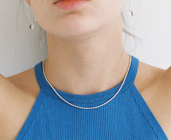 oval ball chain silver necklace