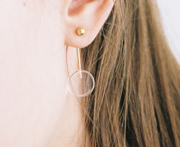 [usual ME] acrylic pendulum silver earrings (15%off)
