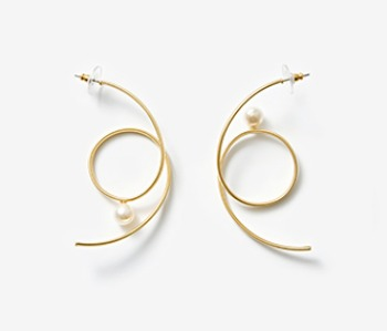 [Monday Edition] Spiral Earrings With Pearl (10%off)