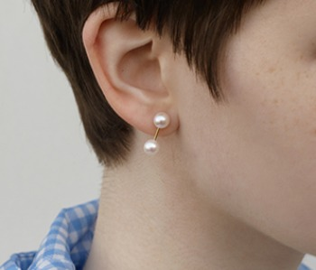 The dumbbell pearl earrings (10%off) - 제작기간 2주
